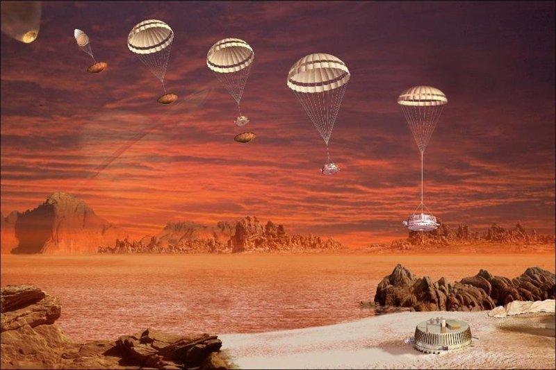 """Последовательность моментов спуска """"Гюйгенса"""" — автоматической станции, доставленной к Сатурну орбитальной станцией """"Кассини"""". Гюйгенс"""" — первый космический аппарат, который совершил мягкую посадку во Внешней Солнечной системе космос, красота, планета, рисунки, художники"""