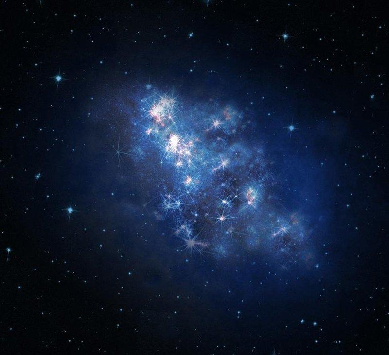 """Галактика, известная по каталожному имени z8_GND_5296. Свет из галактики идет до нас около 1,3 млрд. лет. Телескопы """"Хаббла"""" и обсерватории Кека, которые засекли галактику почти одновременно, """"увидели"""" ее в инфракрасном свете космос, красота, планета, рисунки, художники"""