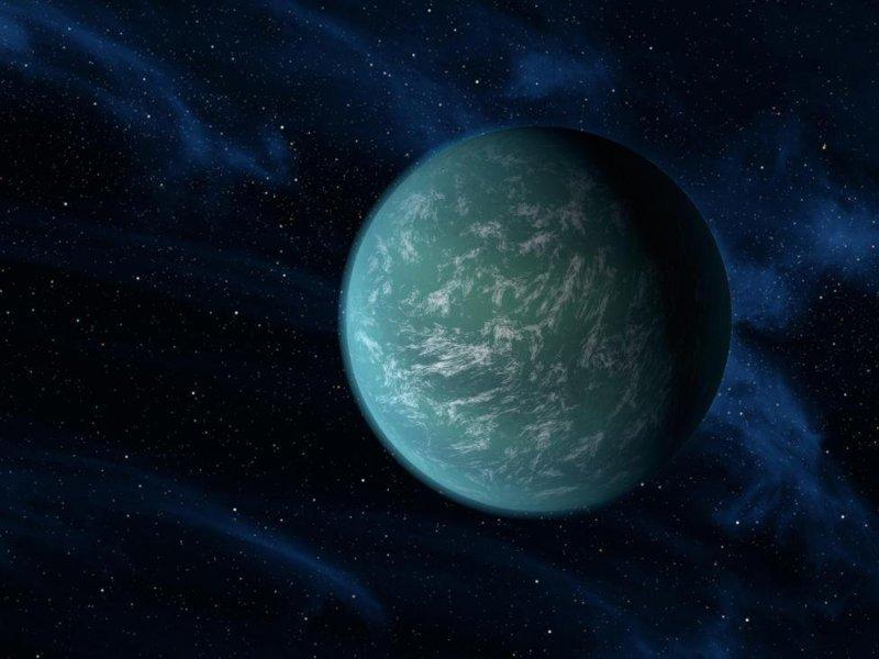 Кеплер-22б, самая похожая на Землю планета из всех, что мы до сих пор открыли. Находится в 600 световых годах от нас. Есть очень высокая вероятность того, что на ее поверхности есть нужная для зарождения жизни вода космос, красота, планета, рисунки, художники