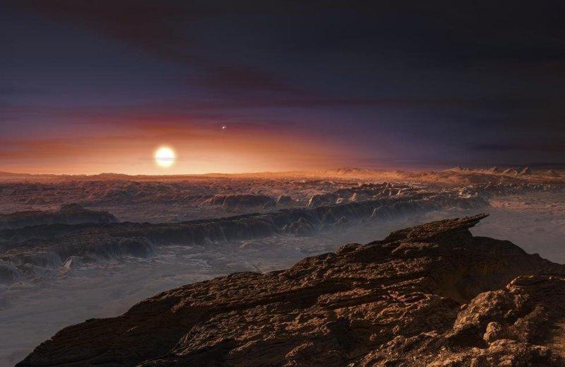 Вид на поверхность планеты Проксима, вращающейся вокруг красного карлика Проксима Центавра, ближайшей к Солнечной системе звезды космос, красота, планета, рисунки, художники