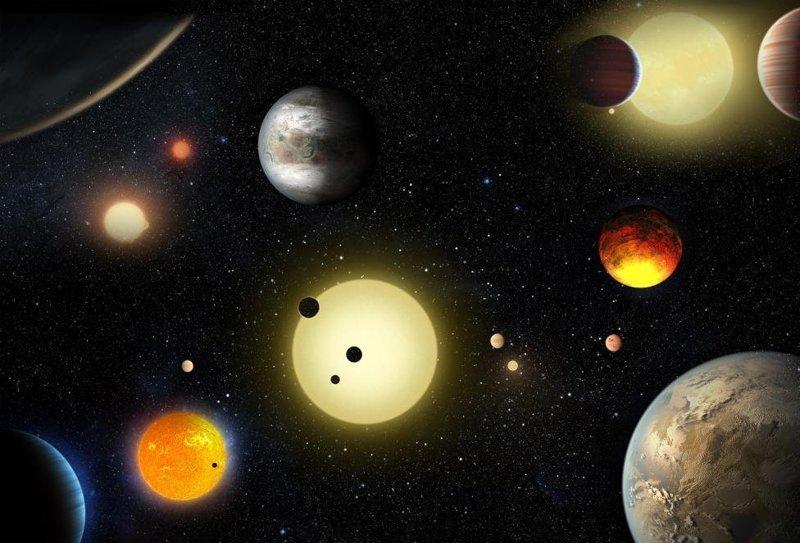 """Визуализация некоторых планет и звезд, открытых с помощью космического телескопа """"Кеплер"""". Всего он открыл более 1200 планет за пределами нашей Солнечной системы. На девяти из них с большой долей вероятности есть условия для зарождения жизни космос, красота, планета, рисунки, художники"""