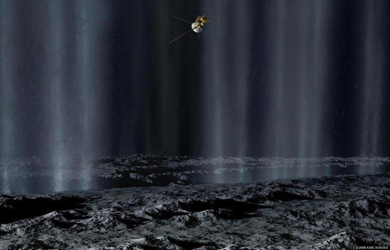 """Концепт, демонстрирующий пролет орбитальной станции """"Кассини"""" мимо луны Сатурна под названием Энцелад с целью изучения струй гейзеров, которые извергаются на поверхности луны в районе южного полярного региона космос, красота, планета, рисунки, художники"""