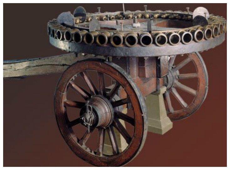 3-фн. 44-ствольная мортирная батарея системы А. К. Нартова изготовлена в 1754 г. в С-Петербургском арсенале артиллерия, военное, интересное, история, необычное, пушки