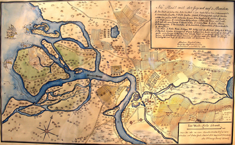 План местности, на которой будет основан город, 1698 г. СПб, древние карты, карты, карты Питера, редкие карты, санкт-петербург