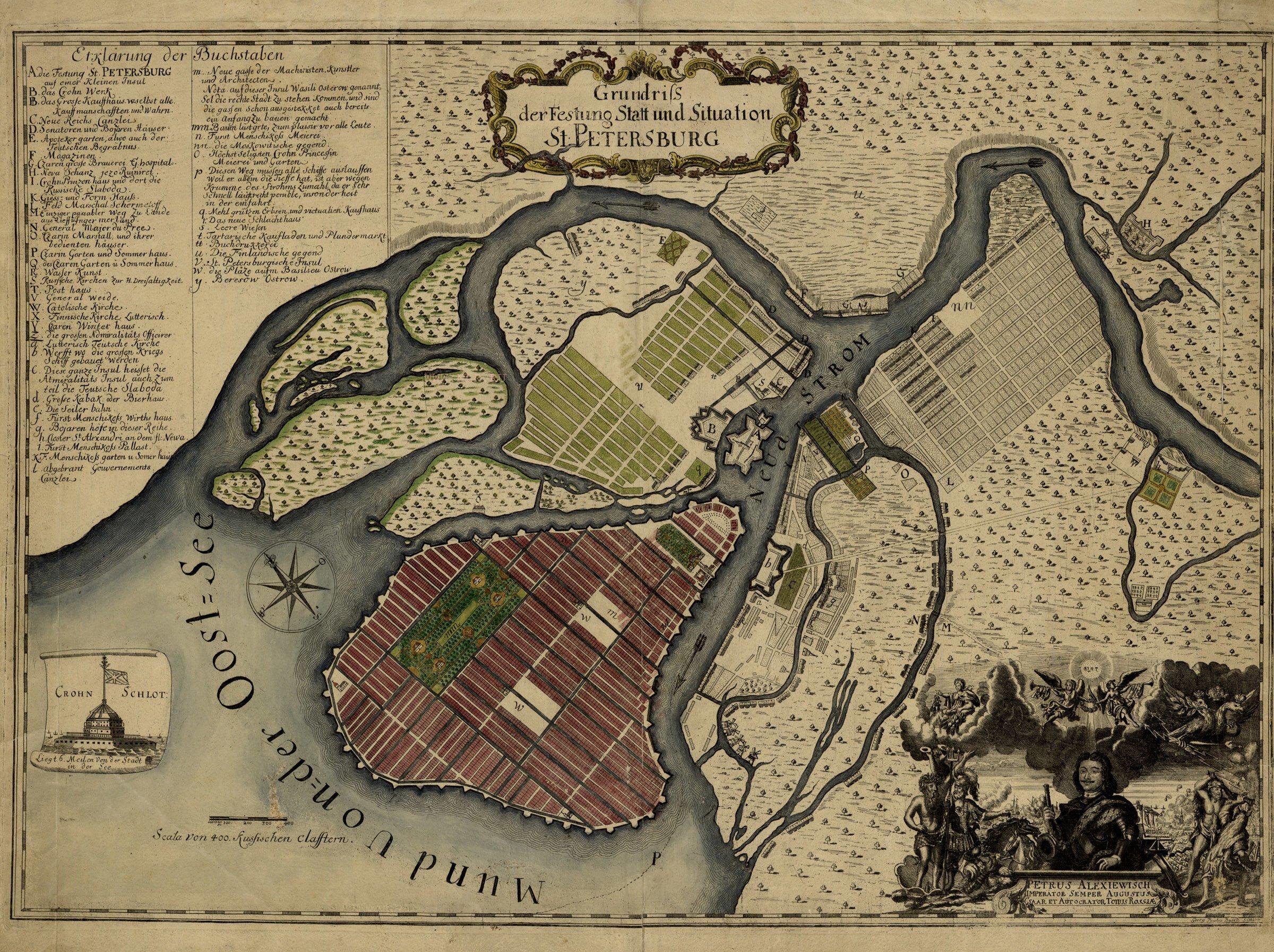 1717 год, карта выполнена берлинским гравером Паулем Бушем СПб, древние карты, карты, карты Питера, редкие карты, санкт-петербург