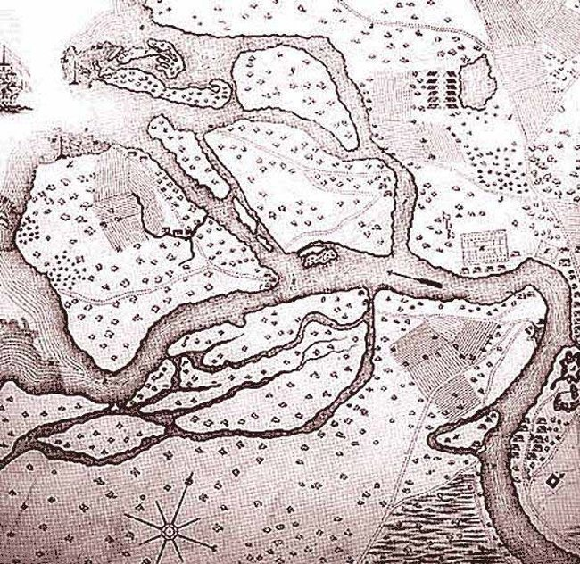 Карта шведского поселения 1698 г., на месте которого в 1703 г. был заложен Санкт-Петербург СПб, древние карты, карты, карты Питера, редкие карты, санкт-петербург