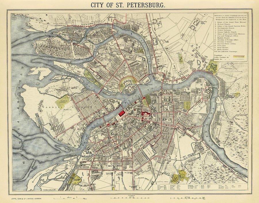 Карта Санкт-Петербурга, 1883 г. СПб, древние карты, карты, карты Питера, редкие карты, санкт-петербург