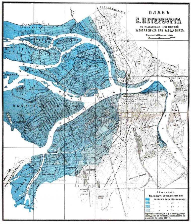 План Санкт-Петербурга конца XIX века, на котором отмечены области города, подверженные затоплению СПб, древние карты, карты, карты Питера, редкие карты, санкт-петербург
