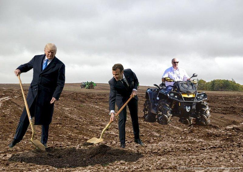 Ну и какой фотошоп-батл без Александра Григорьевича... Макрон, Трамп, прикол, фотошоп, юмор