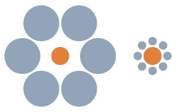 8. Эти оранжевые кружочки одного размера забавно, мозг, обман зрения, оптические иллюзии, прикольно