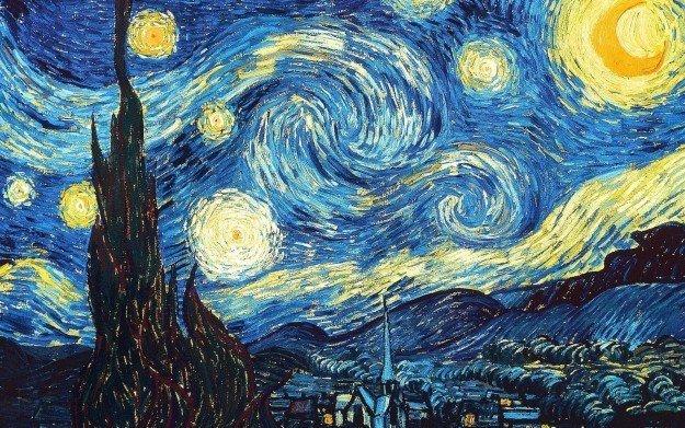 """…наблюдай """"ожившие"""" звезды на картине """"Звёздная ночь"""" ван Гога! забавно, мозг, обман зрения, оптические иллюзии, прикольно"""