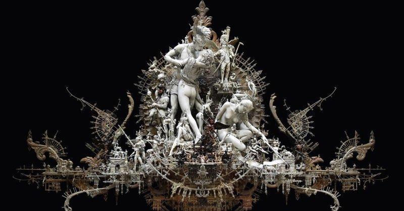 Художник творит готические скульптуры из повседневных предметов Крис Кукси, бог мелочей, из какого сора, искусство, подручные материалы, скульптура, статуи, творчество