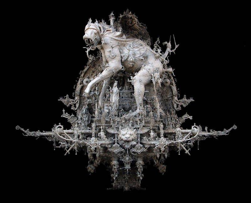 """""""Парад господних напастей"""" Крис Кукси, бог мелочей, из какого сора, искусство, подручные материалы, скульптура, статуи, творчество"""