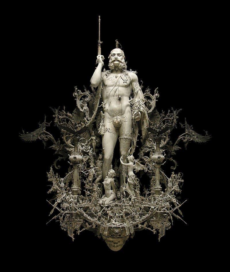 """""""Сверхчеловек постапокалиптического мира"""" Крис Кукси, бог мелочей, из какого сора, искусство, подручные материалы, скульптура, статуи, творчество"""