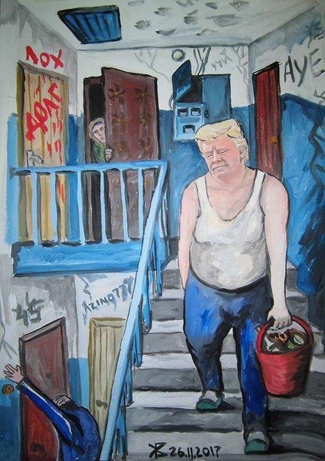 Как выглядел бы Трамп если бы жил в России Дональд Трамп, Трамп, карикатура, президент, прикол, рисунок, россия, юмор