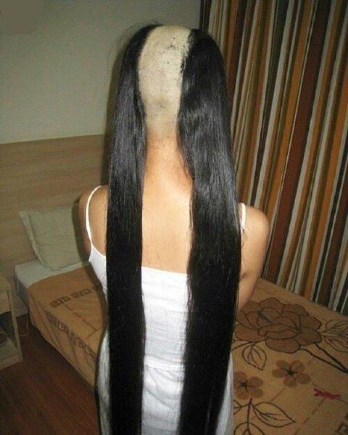 Длинные волосы - это всегда опасность. Опасность остаться без них волосы, девушки, длинные волосы, жесты, прикол, шутки, юмор