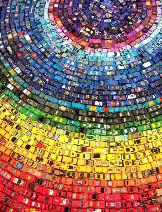 Радуга из машинок Фабрика идей, красота, мастера, радуга, рукоделие