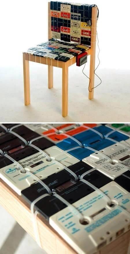 Можно сделать мебель и прочие предметы быта Аудиокассеты, Фабрика идей, дизайн, идеи, интересное