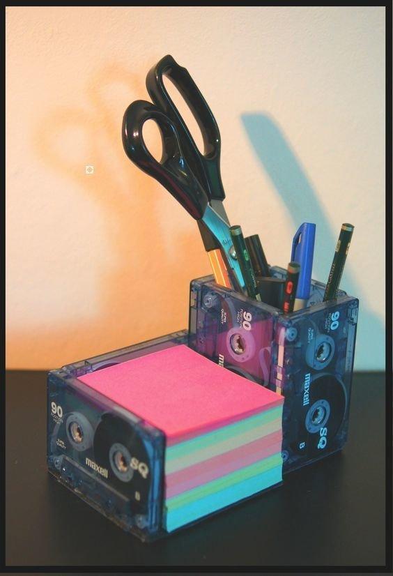 Подставки под разную канцелярию Аудиокассеты, Фабрика идей, дизайн, идеи, интересное