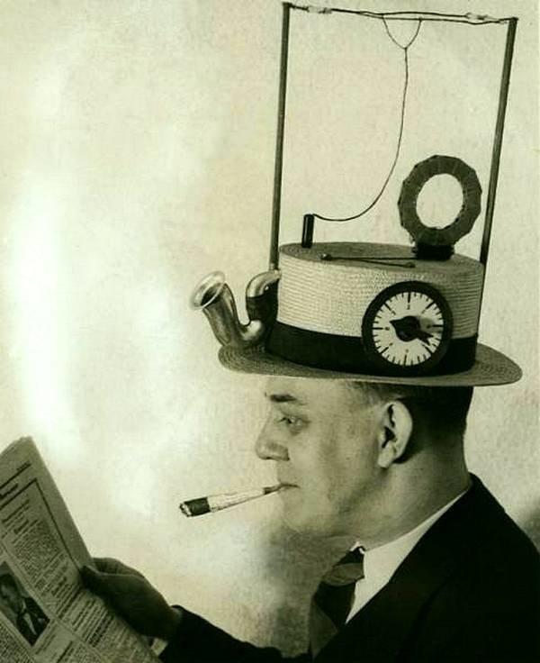 Радио шляпа из 1931 года - первый прототип смартфона с наушниками ??!! история, черно-белая фотография, юмор