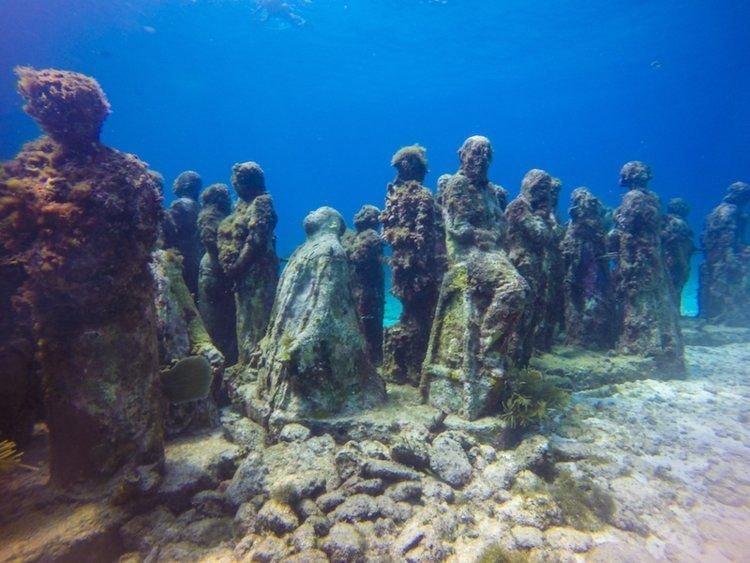 3. Подводный музей в Мексике. Странные места, авто, города, интересно, музей, путешествие, путешествия