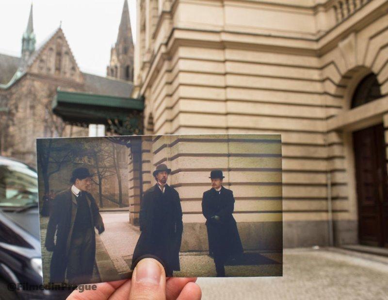 """1. Фильм """"Иллюзионист"""" (2006 г.) в основном снимался в Праге, хотя речь там и шла о Вене. Сцена снята рядом с Театром на Виноградах воссоздание, интересно, кадры из фильма, кино, красота, места из фильма, прага, фотопроект"""