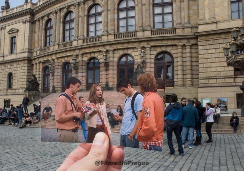 """3. """"Евротур"""" (2004 г.) В фильме это место должно изображать Париж, но в действительности это здание концертного зала """"Рудольфинум"""" в Праге воссоздание, интересно, кадры из фильма, кино, красота, места из фильма, прага, фотопроект"""