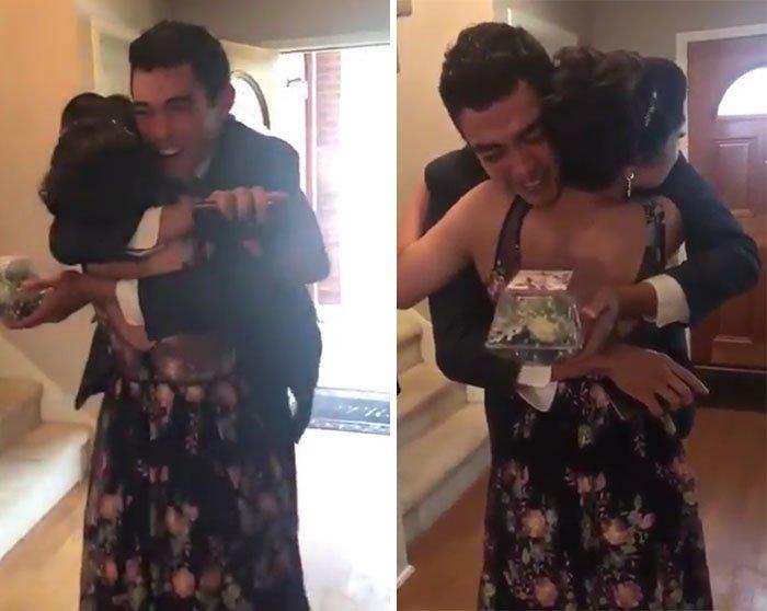 Его реакцию не описать! видео, выпускной, девушка, инвалид, инвалидное кресло, реакция, трогательно, фото