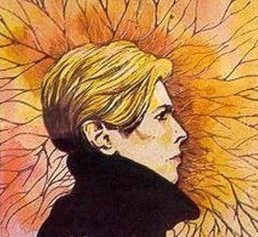 5. Не обошлось художественное творчество и без любимых артистов самого Цоя. Так, он изобразил Дэвида Боуи виктор цой, группа кино, кино, рисунки, художник, цой