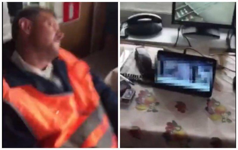 Дежурный уснул, пока водители ждали поезд на переезде  ynews, видео, дежурный, интересное, переезд, поезда, спит
