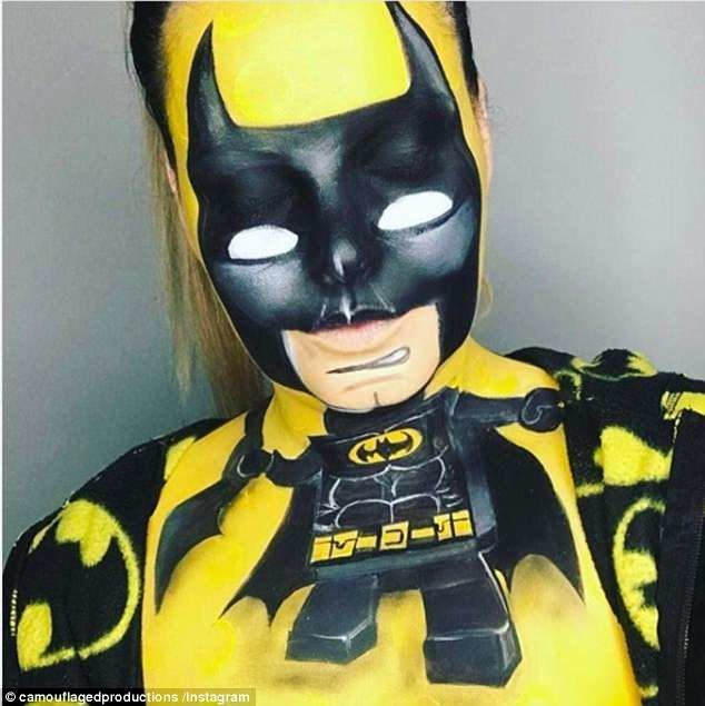 Визажист-самоучка примерила на себя образы Бэтмена и Джокера визажист, визажисты, грим, девушка, косметика, красота, макияж, фото