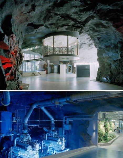 Начнем с действующих бункеров. Современный центр обработки данных Wikileaks, созданный из бункера Второй Мировой. Он находится на глубине 30 метров под землей, а точнее под гранитными скалами стокгольмского парка Вита Берг. бомбоубежища, бункеры, военное, выживание, интересное, факты