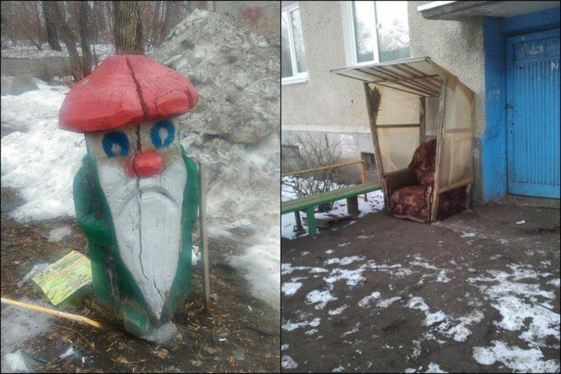 Старичок-боровичок из Новосибирска. И кресло для царь-бабушки двор, забавно, прикол, украшение, юмор