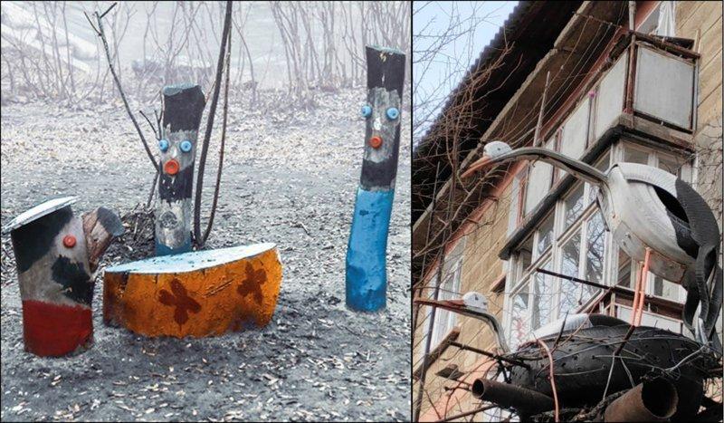 """""""Рейд в подпольном казино"""". Днепропетровск, Украина. Второе фото как бы говорит нам, что если у тебя под балконом поселились резиново-металлические аисты, тебя ждет резиново-металлическое счастье двор, забавно, прикол, украшение, юмор"""