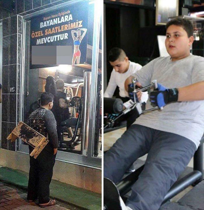 26. Эта история стала вирусной в турецких соцсетях. 12-летний сирийский беженец, работающий чистильщиком обуви, долго смотрел в окно фитнес-клуба. После этого владелец клуба разыскал мальчика и подарил ему пожизненный абонемент на тренировки. Добрые дела, добро, истории, люди, подборка, позитив, трогательно, фото
