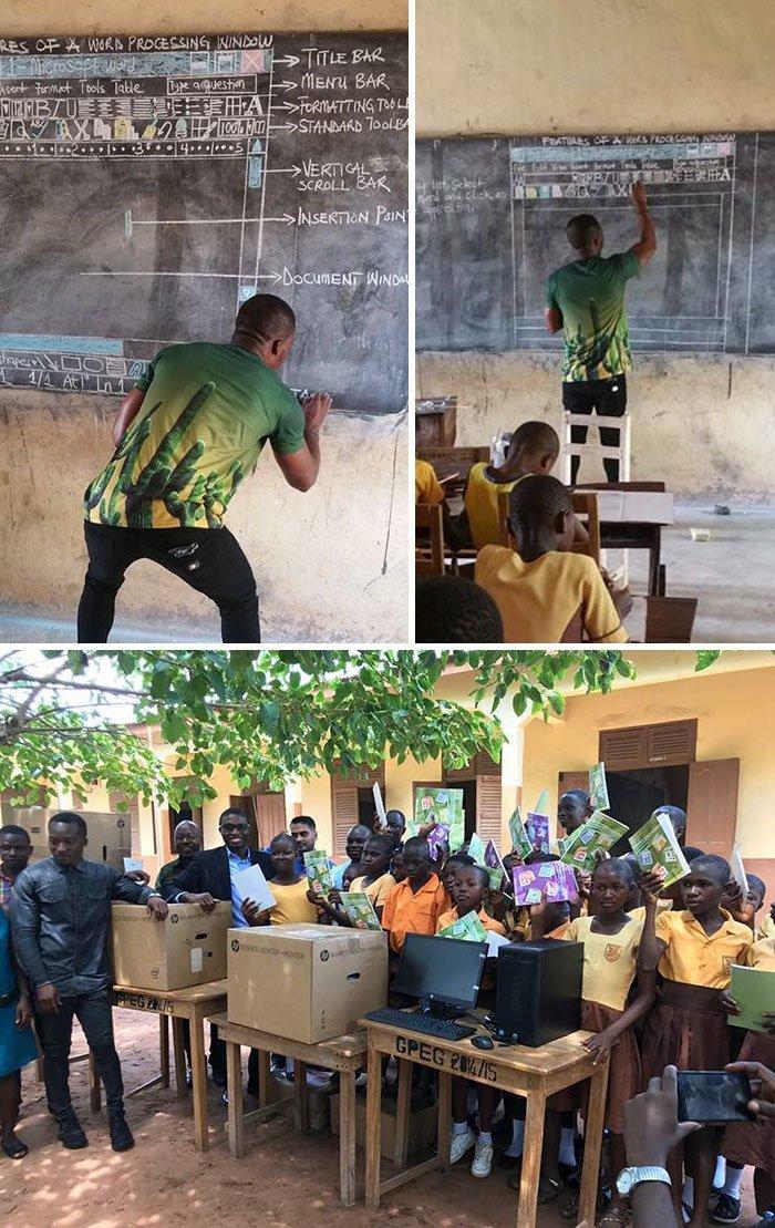 14. Учитель из Ганы учит детей пользоваться Microsoft Word с помощью рисунков на доске. После того, как эти фото облетели интернет, люди со всех уголков Земли присылали пожертвования, чтобы детям купили настоящие компьютеры. Добрые дела, добро, истории, люди, подборка, позитив, трогательно, фото