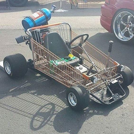 Ну правильно, для чего еще нужна тележка из супермаркета Фабрика идей, байк, велосипед, интересно, картинг, коляска, смешно