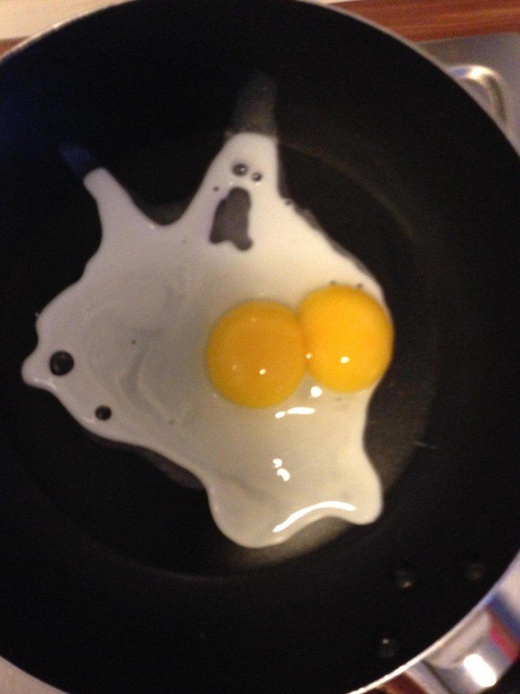 Когда разбил яйцо, а на тебя с испугом смотрит призрак иллюзии, прикол, фотофакт, юмор
