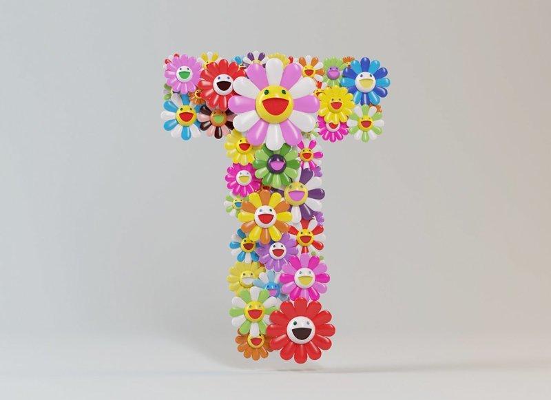 Такаси Мураками алфавит, буква, дизайн, креатив, фантазия