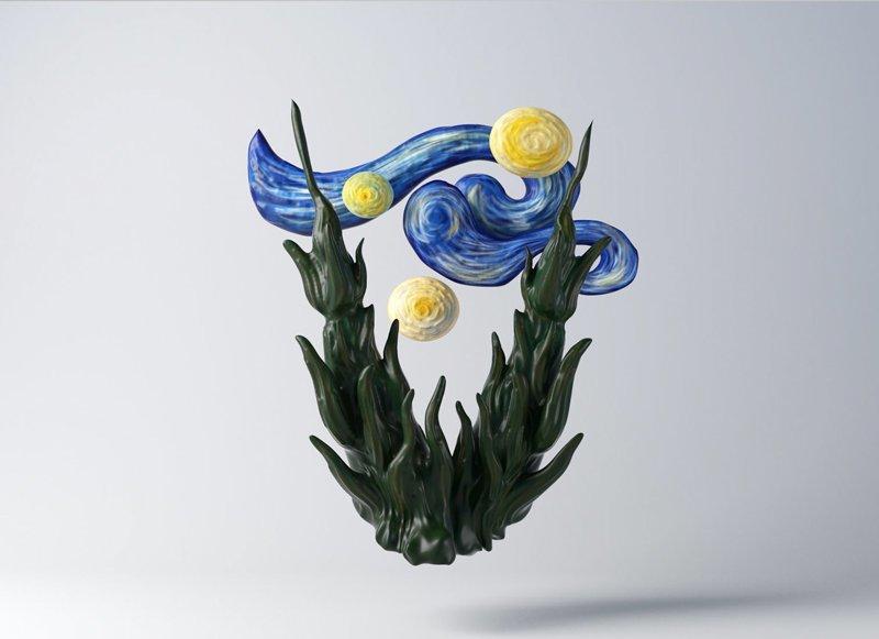 Винсент ван Гог алфавит, буква, дизайн, креатив, фантазия