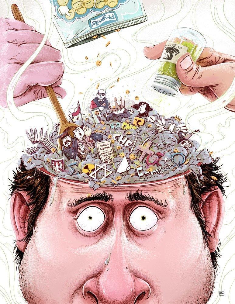 Каша в голове Михаил Дзекан, в мире, карикатура, люди, мир, рисунок, фантазия, художник