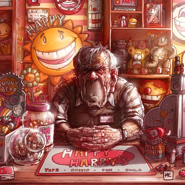 Счастливый Гарри Михаил Дзекан, в мире, карикатура, люди, мир, рисунок, фантазия, художник