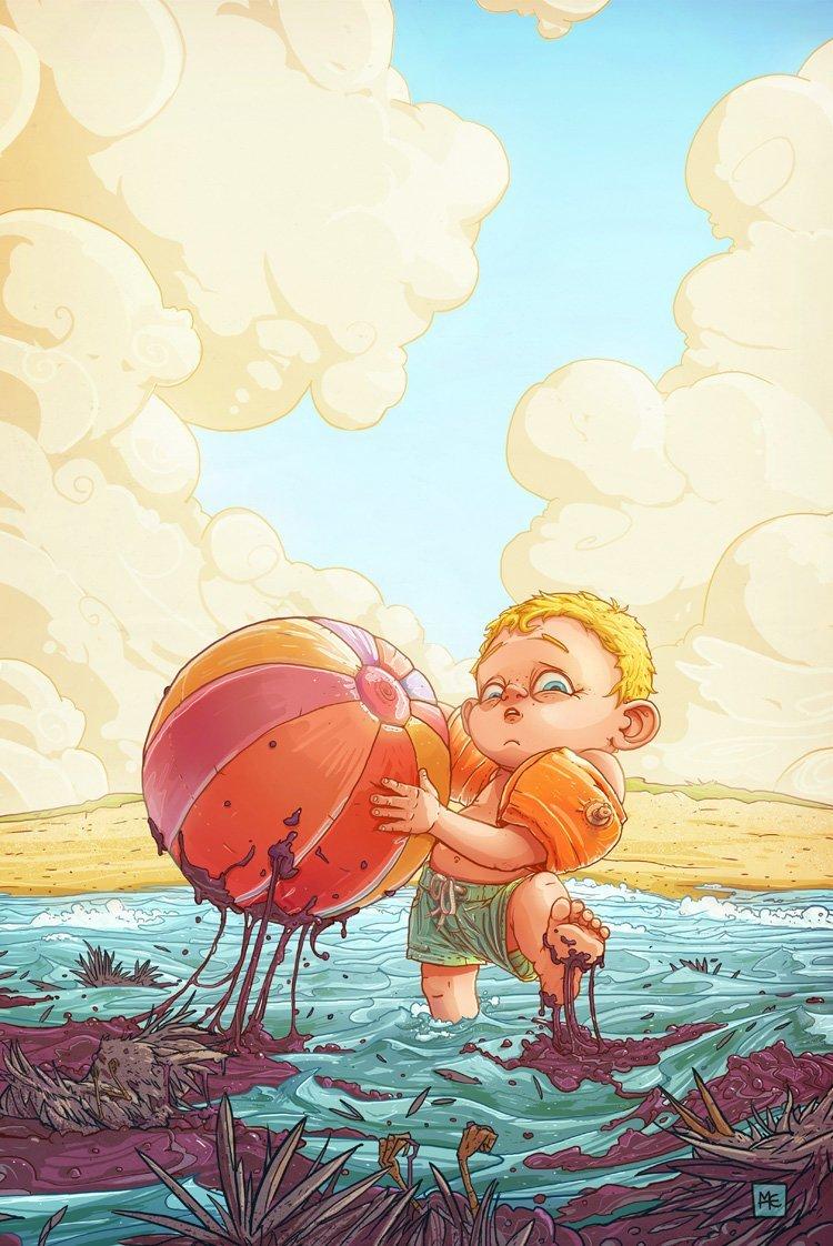 Разлитые каникулы Михаил Дзекан, в мире, карикатура, люди, мир, рисунок, фантазия, художник