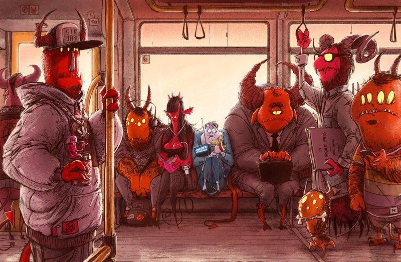 Одержимость Михаил Дзекан, в мире, карикатура, люди, мир, рисунок, фантазия, художник