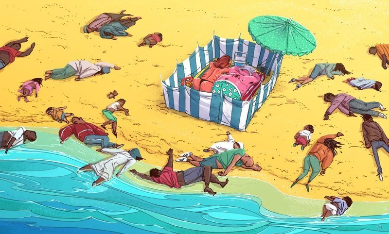 Пляж Михаил Дзекан, в мире, карикатура, люди, мир, рисунок, фантазия, художник
