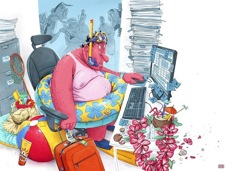 Отпуск Михаил Дзекан, в мире, карикатура, люди, мир, рисунок, фантазия, художник