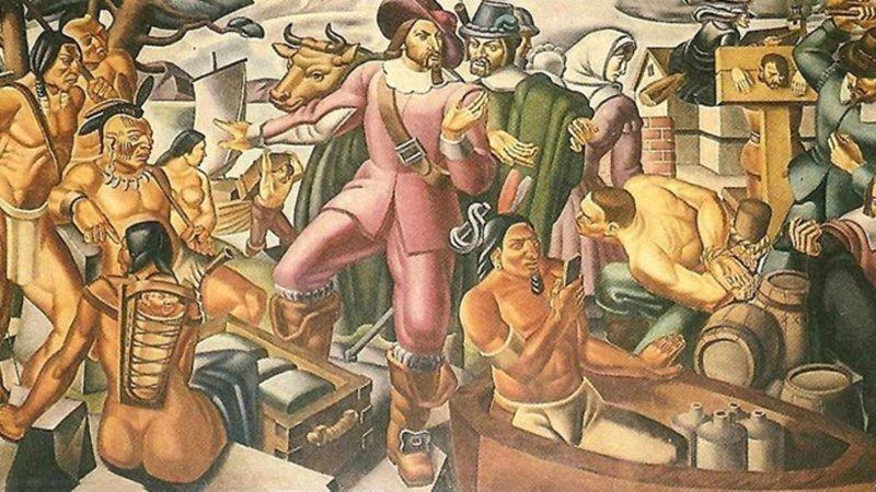 """Фреска Умберто Романо """"Мистер Пинчон и поселение Спрингфилд"""". путешествие во времени, шутка, юмор"""