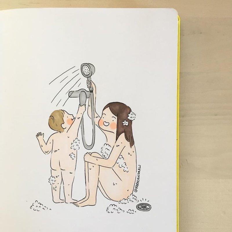 Мама описывает жизнь с ребенком в картинках веселые картинки, домохозяйка, картинки из жизни, материнство, скетчи, творческий порыв, творчество, художница