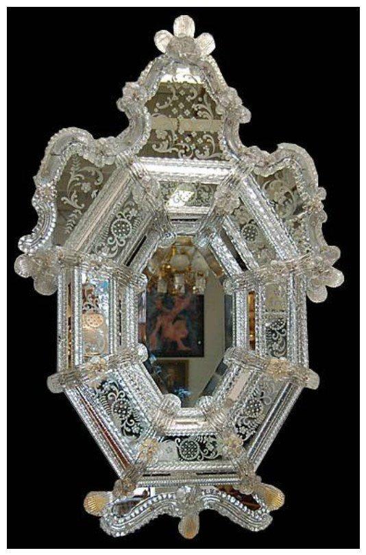 Венецианское зеркало из  муранского стекла, 19 век антиквариат, зеркала, интересное, красота, факты