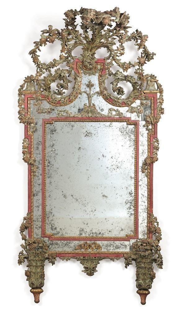 Итальянское полихромное  позолоченное зеркало, приписываемое Джузеппе Марии Бонзаниго, Турин, конец 18 века антиквариат, зеркала, интересное, красота, факты